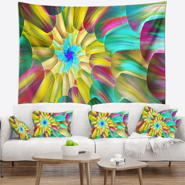 Designart 'Multi Color Stained Glass Spirals' Floral Wall Tapestry
