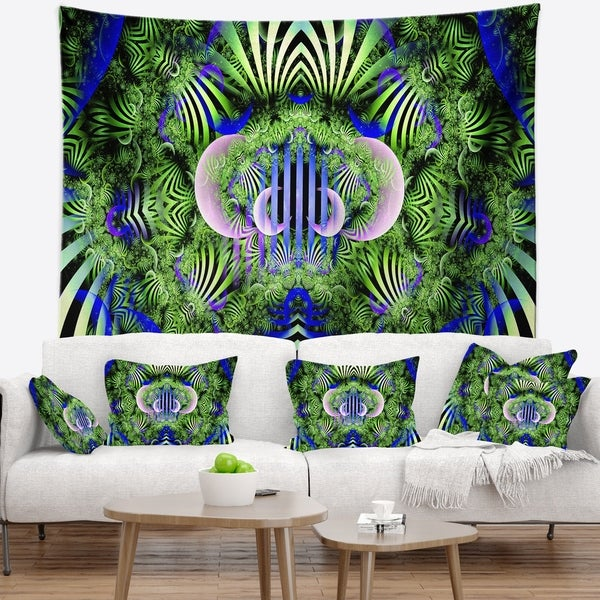 Designart 'Green Magical Fairy Pattern' Floral Wall Tapestry
