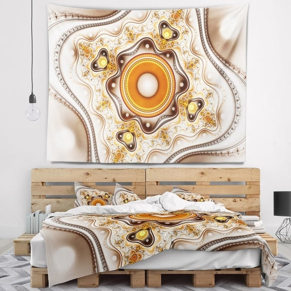 Designart 'Fractal Circles and Wavy Curves' Abstract Wall Tapestry
