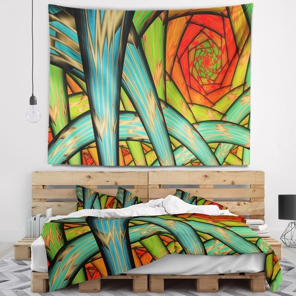 Designart 'Green Fractal Endless Tunnel' Abstract Wall Tapestry