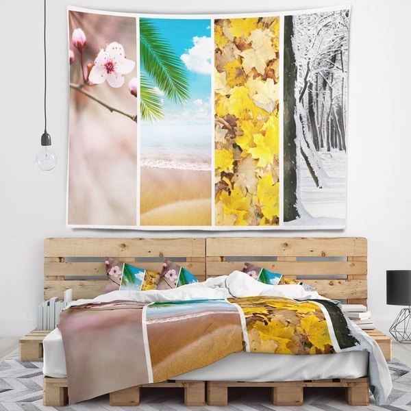 Designart 'Four Seasons World Collage' Landscape Wall Tapestry