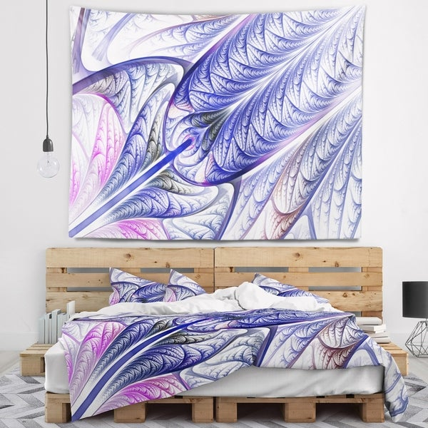 Designart 'Blue on White Fractal Stained Glass' Abstract Wall Tapestry