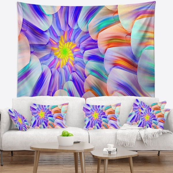 Designart 'Multi Colored Stain Glass with Spirals' Floral Wall Tapestry