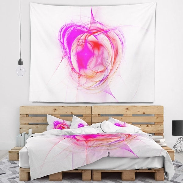 Designart 'Pink Fractal Explosion Supernova' Abstract Wall Tapestry