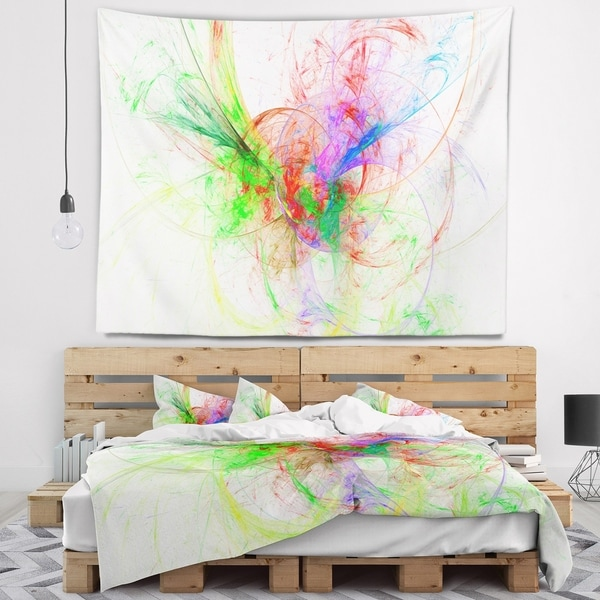 Admirable Designart Multi Color On White Fractal Design Abstract Wall Tapestry Home Interior And Landscaping Staixmapetitesourisinfo