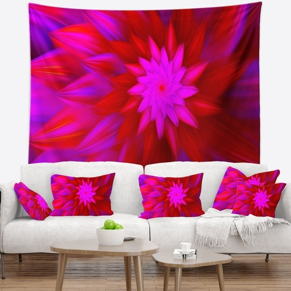 Designart 'Dance of Bright Spiral Pink Flower' Floral Wall Tapestry