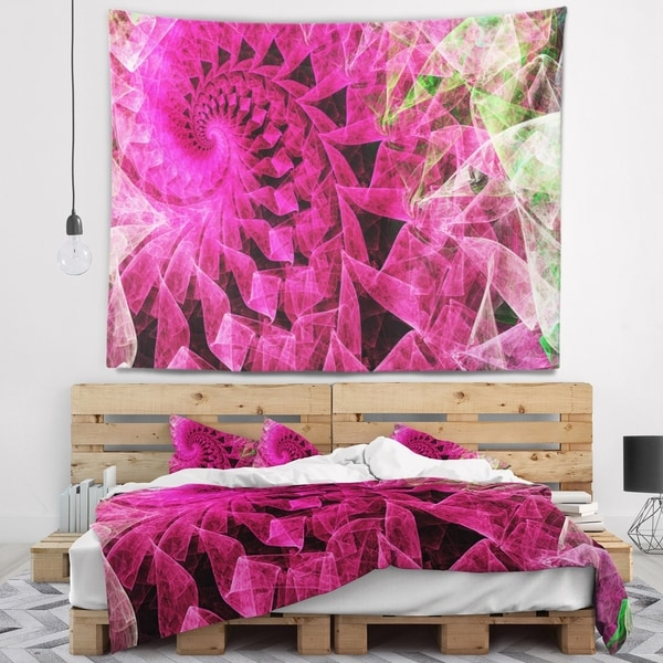 Designart 'Pink Spiral Kaleidoscope' Abstract Wall Tapestry