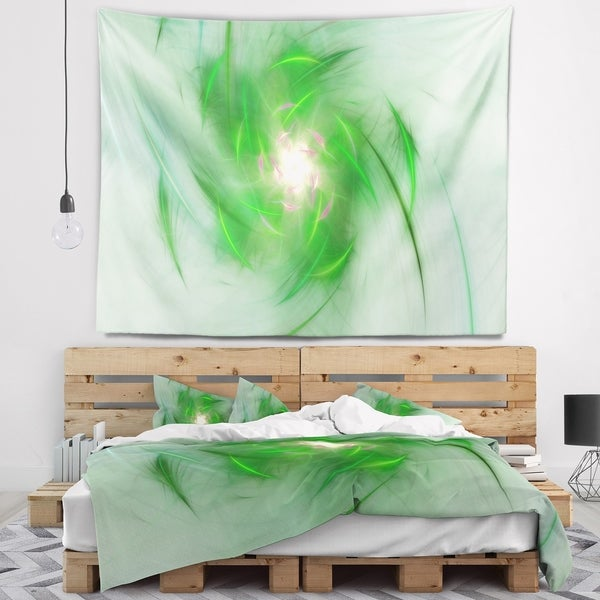 Designart 'Green on White Fractal Whirlpool' Abstract Wall Tapestry