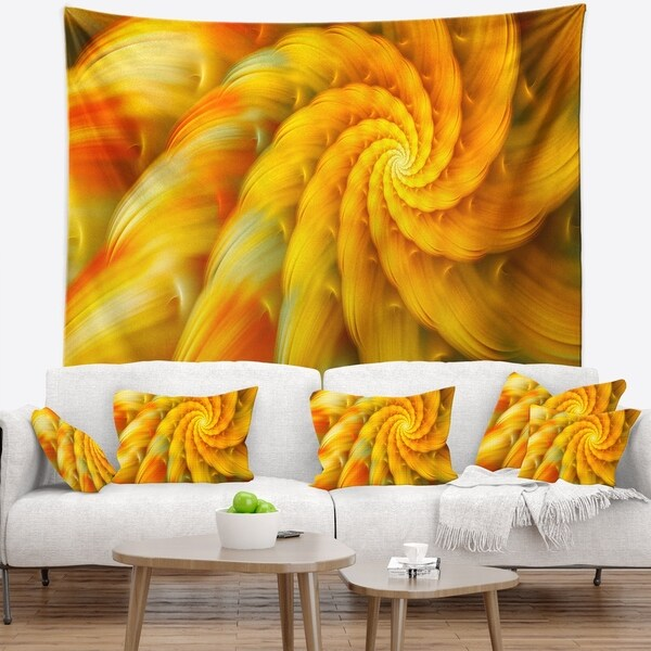 Designart 'Rotating Yellow Fractal Flower' Floral Wall Tapestry