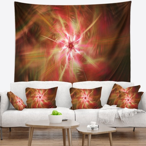 Designart 'Rotating Brown Bright Fireworks' Floral Wall Tapestry