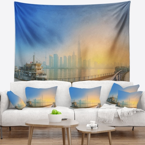 Designart 'Shanghais Night with Lights' Cityscape Wall Tapestry