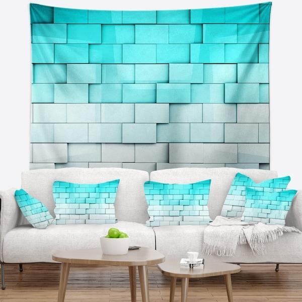 Designart 'Blue Mosaic Cubes' Contemporary Wall Tapestry