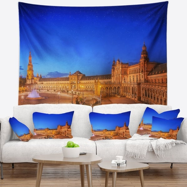 Designart 'View of Spain Square at Sunset' Cityscape Wall Tapestry