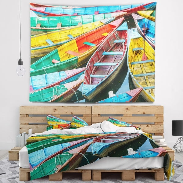 Designart 'Rowing Boats on the Lake in Pokhara' Boat Wall Tapestry