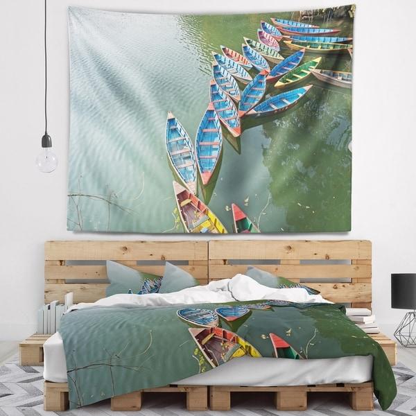 Designart 'Phewa Lake in Pokhara Nepal' Boat Wall Tapestry