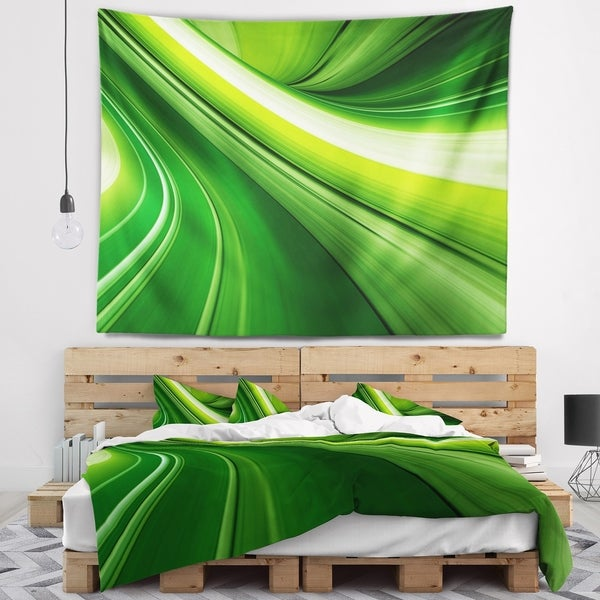 Designart 'Abstract Green Lines Background' Abstract Wall Tapestry