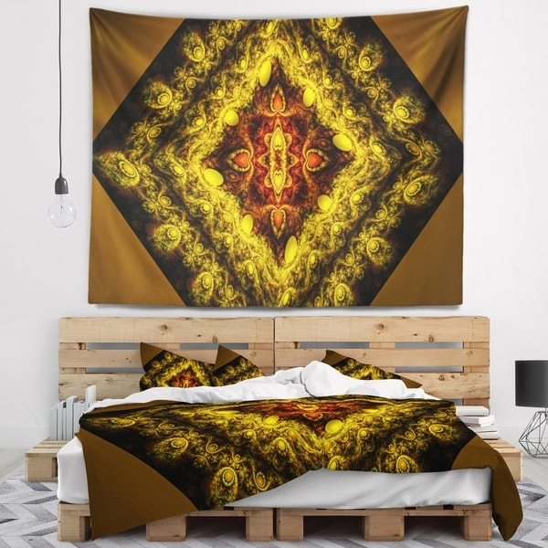 Designart 'Cabalistic Yellow Fractal Design' Abstract Wall Tapestry