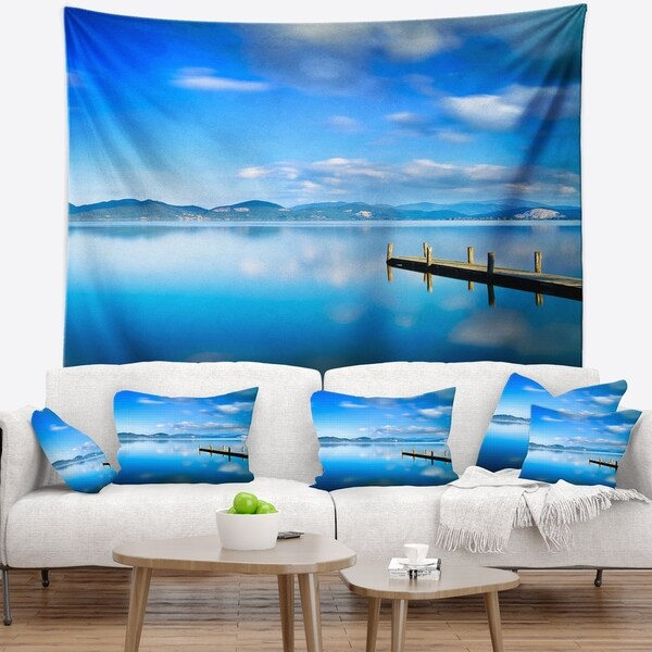 Designart 'Cloudy Sky Over Blue Sea' Seascape Wall Tapestry