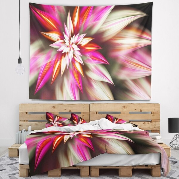 Designart 'Exotic Red Fractal Spiral Flower' Abstract Wall Tapestry