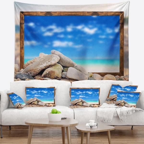 Designart 'Framed Effect Blue Sky Over Sea' Seashore Wall Tapestry