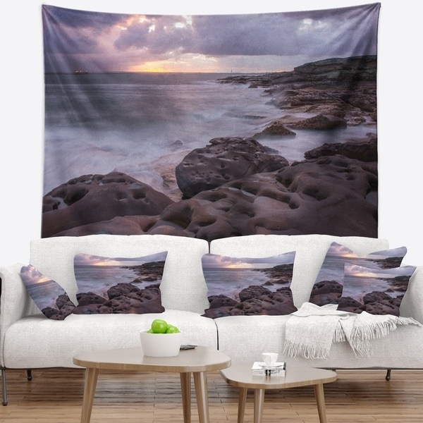 Designart 'Dark Australian Seashore with Large Rocks' Seashore Wall Tapestry