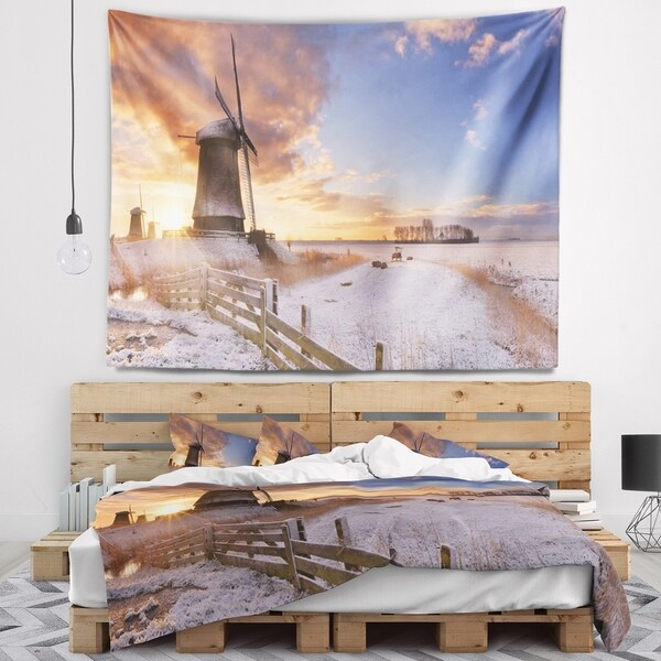 Designart 'Dutch Windmills at Sunrise' Abstract Wall Tapestry