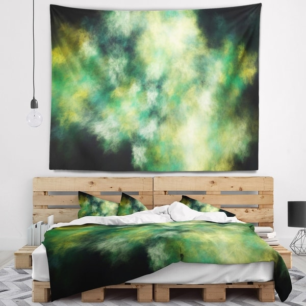 Designart 'Perfect Green Starry Sky' Abstract Wall Tapestry