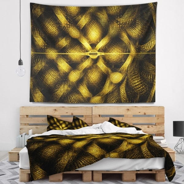 Designart 'Golden Fractal Watercolor Pattern' Abstract Wall Tapestry