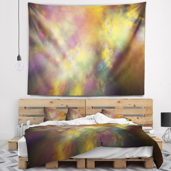 Designart 'Perfect Yellow Starry Sky' Abstract Wall Tapestry