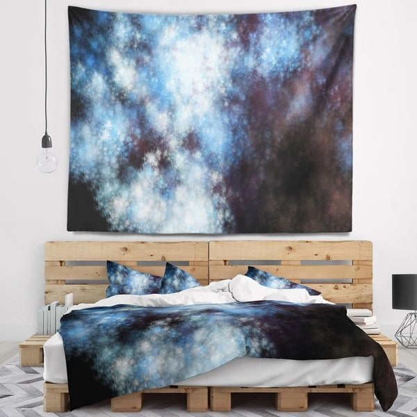Designart 'Blue White Starry Fractal Sky' Abstract Wall Tapestry