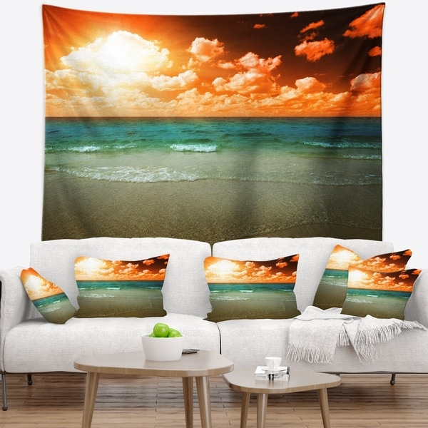 Designart 'Dramatic Sky Over Tropical Sea Beach' Seascape Wall Tapestry