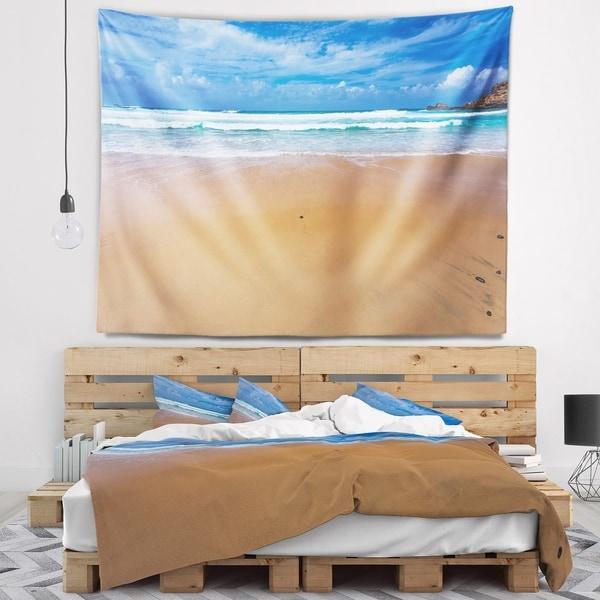 Designart 'Peaceful Atlantic Seashore Portugal' Beach Photo Wall Tapestry