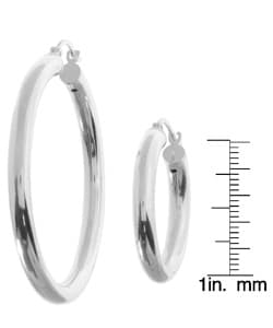 Sterling Essentials Sterling Silver Classic Hoop Earrings (Set of 2) - Thumbnail 2