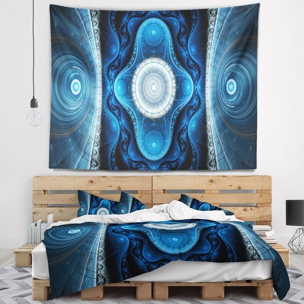 Designart 'Cabalistic Blue Fractal Design' Abstract Wall Tapestry