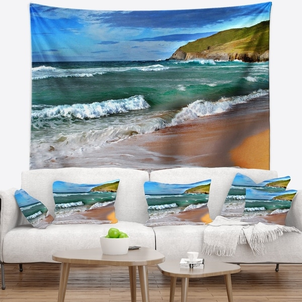 Designart 'Blue Sea with Warm Waves' Seascape Wall Tapestry