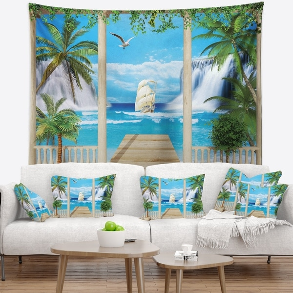Designart 'Wooden Terrace with Sea View' Landscape Photography Wall Tapestry