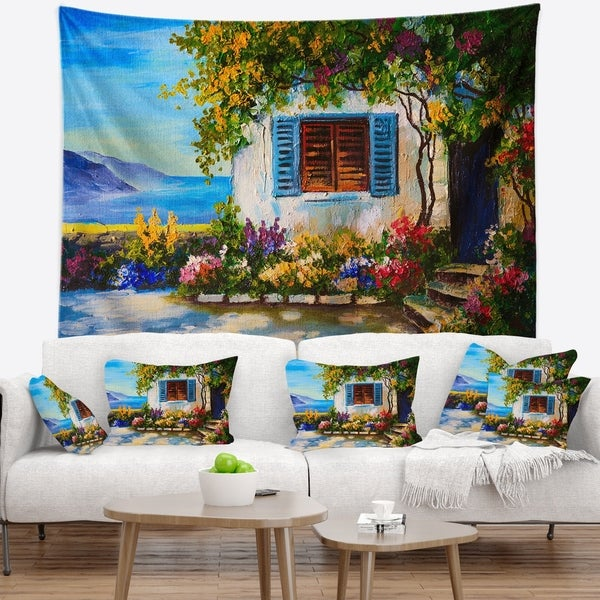 Designart 'House Near Sea Oil Painting' Landscape Painting Wall Tapestry