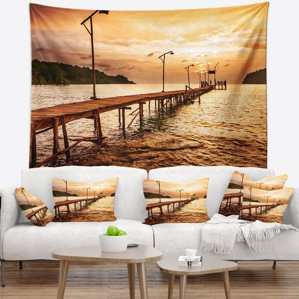Designart 'Sunset Over Brown Sea' Seascape Wall Tapestry