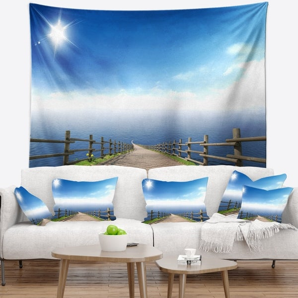 Designart 'Endless Pier into Blue Sea' Seascape Photography Wall Tapestry