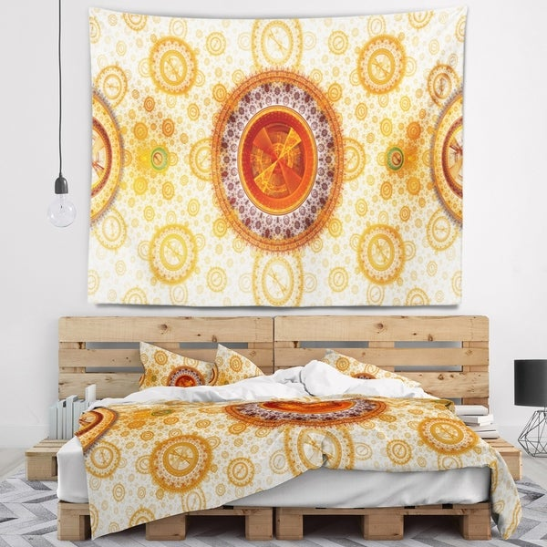 Designart 'Yellow Psychedelic Relaxing Art' Abstract Wall Tapestry