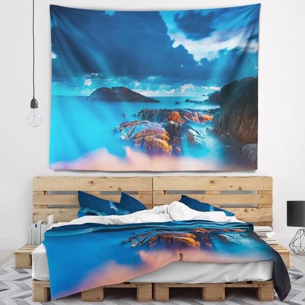 Designart 'Rocky Sea with Long Exposure' Seashore Photo Wall Tapestry