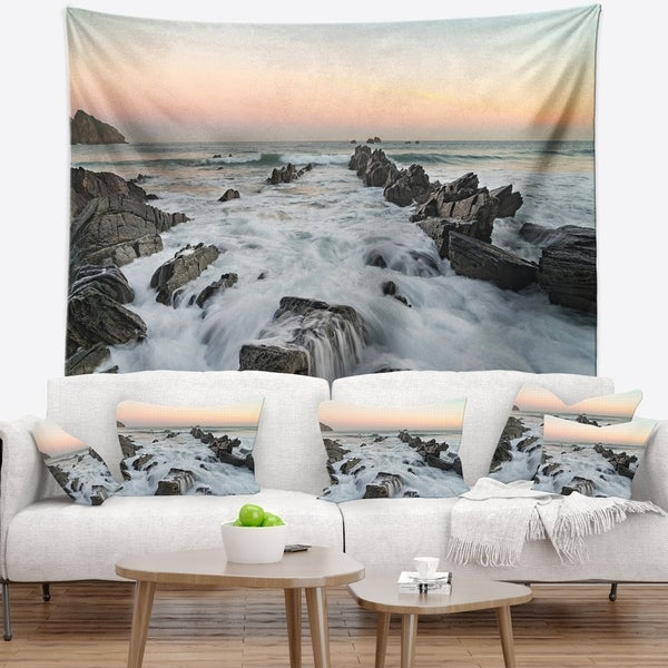 Designart 'Bay of Biscay Spain Seashore' Landscape Wall Tapestry