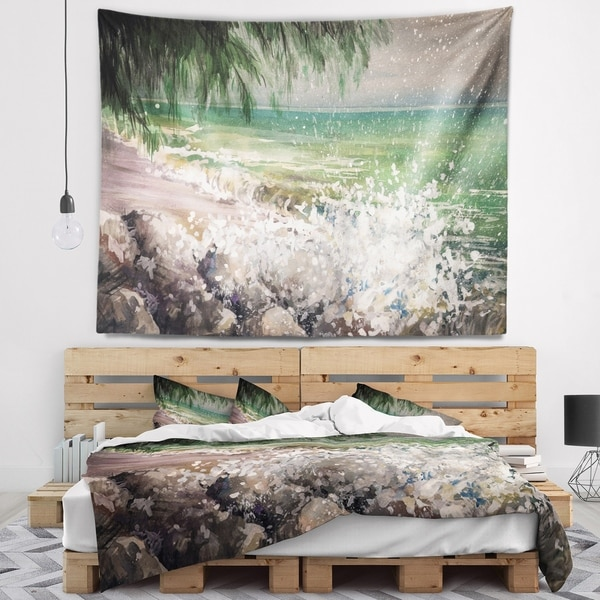 Designart 'Rocky Seashore with White Waves' Seashore Wall Tapestry