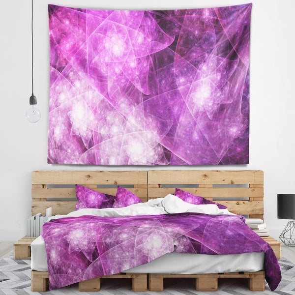 Designart 'Pink Rotating Polyhedron' Abstract Wall Tapestry
