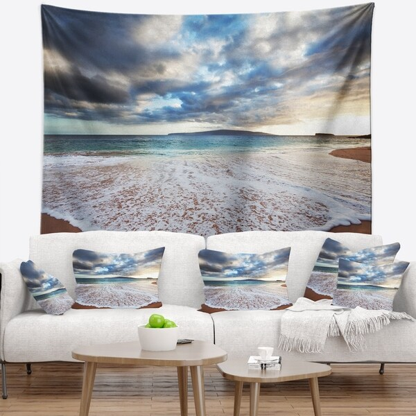Designart 'Deep Seashore with Clouds and Waves' Seascape Wall Tapestry