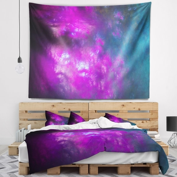 Designart 'Purple Blue Starry Fractal Sky' Abstract Wall Tapestry