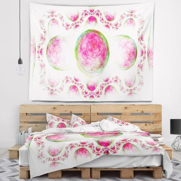 Designart 'Pink Exotic Pattern on White' Abstract Wall Tapestry