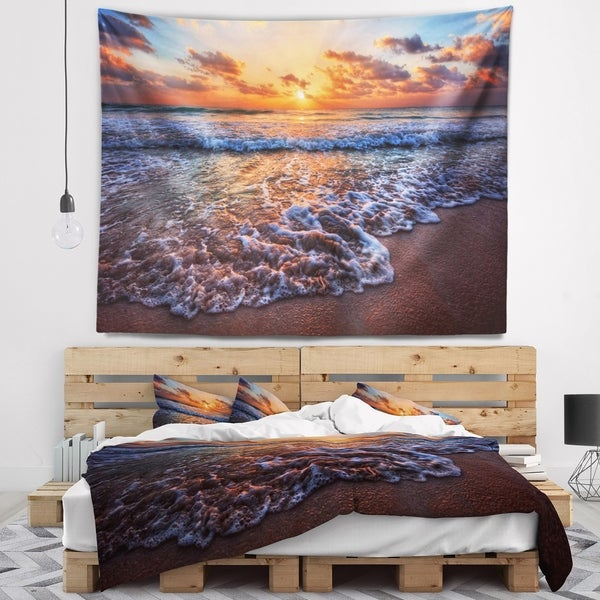 Designart 'Roaring Sea Wavers during Sunset' Seashore Wall Tapestry