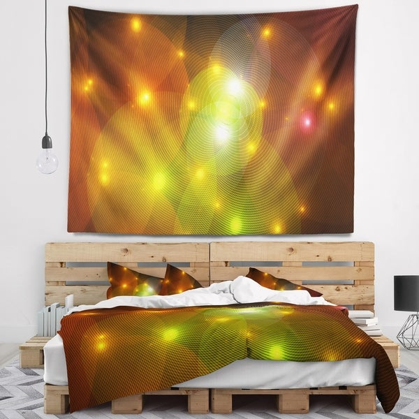 Designart 'Golden Fractal Lights in Fog' Abstract Wall Tapestry