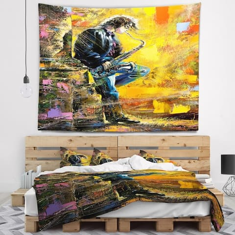 Designart 'Man with Saxophone' Contemporary Wall Tapestry
